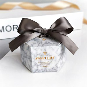 Silver Marble Hexagon Style Candy Box Wedding Favors and Gifts Boxes Baby Shower Paper Gift Boxes for guests Party Supplies