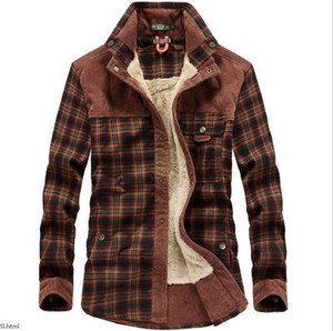 New Mens Designer Military Plaid Flannel Jackets Autumn Winter Warm Fleece Thick Coats Pocket Single Breast Loose Lapel Neck Shirts