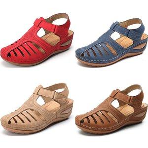 2021 Women Sandals Wedges Summer Shoes Fashion Classics Sandals Woman triple black pink red blue Slipper Flat Sport Trainer shoes Eur 35-44