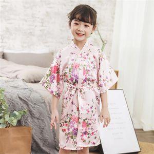 2020 Spring Summer Children Satin Robes Kimono Bath Robe Kids Flower Print Girl Silk Bathrobe Kids V-neck Lace-up Nightgown ger
