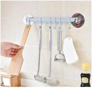 Auto adesivo 6 ganchos banheiro parede toalha titular pendurado nail-free cremalheira forte pasta ganchos ganchos chave ganchos cozinha loja bbyjna