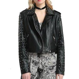 Rivets Women Faux Leather Jackets Gothic Spring Autumn Slim Motorcycle PU Zipper Punk Coat Fashion Female Outerwear Jackets