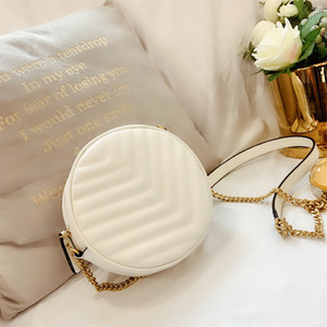 2020 Women Crossbody Bags Shoulder Bag Small Round Bag Designer Female Handbag For Women PU Leather Retro Chain White