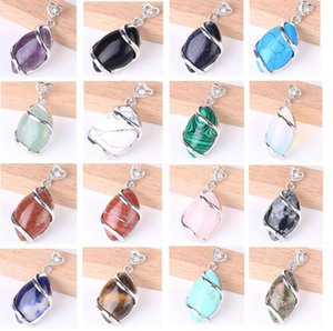 Hot Women Trendy Jewelry Pendants for Necklace Choker Making Horse Eye Shaped Natural Gemstone Pendant Charms with Love Heart Buckle DHD2586