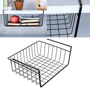 Estante colgante en casa debajo del soporte de la mesa de la mesa de la mesa de la mesa de la mesa de la cocina del gabinete de la malla del estante de la cesta multifunción multifunción 2 tamaños y200429
