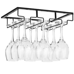 Verre à vin en rack - Sous verre Cabinet Stemware vin Holder Lunettes de stockage Hanger Organisateur en métal pour Bar Cuisine Noir