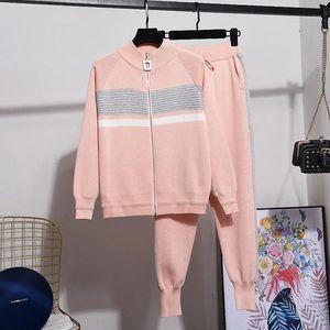 New Casual Knit Tracksuits Women Zipper Cardigans Trouser Two Piece Set Women Fashion Bright Silk Long Sleeve Knit Coat Suit1