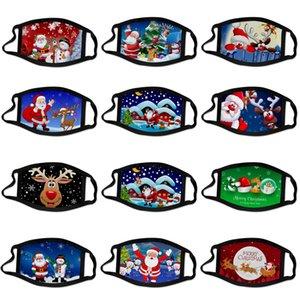 Máscaras del partido de Navidad de Navidad tela de cara de dibujos animados 3D Máscara reutilizable lavable anti-polvo de la máscara de la boca cubierta para adultos