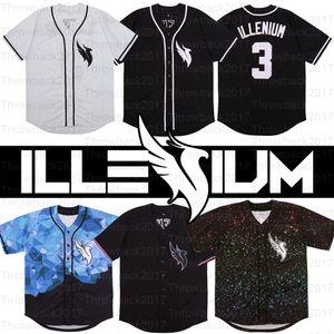DJ ILLENIUM Jersey Singer 3# Men's White Black Stitched Fashion version Diamond Edition Baseball Jerseys free Shipping