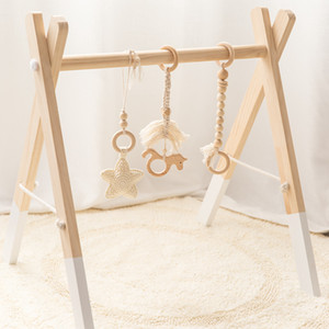 Let's go Wood Hook Star Bell Unicorn Furniture Children's Diseases Play Gym Baby Gift Toys For Newborn One Set
