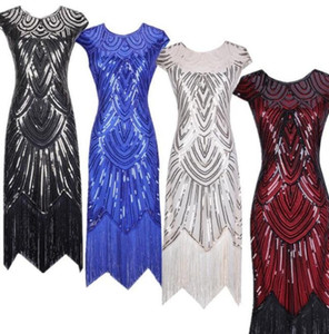 2021 new color Vintage 1920s Flapper Great Gatsby Dress O-Neck Cap Sleeve Sequin Fringe Party Midi Dress Vestidos Verano