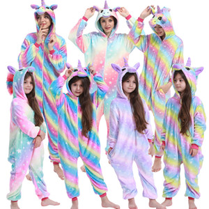 Boys Girls Unicorn Pajama Sets Panda Unicorn Pajamas For Women Pijimas Onesie Adults Animal Sleepwear Winter Warm Pyjamas Kids 201104