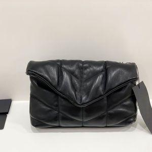 Señora oblicua del hombro bolsa bolso Negro Nube paquete grande real bolsa de cuero acolchado Compruebe Monedero Cadena