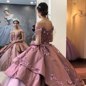 New Arrival Plus Size Pink Ball Gown Quinceanera Dresses Beaded Lace Applique Tulle Satin 2021 Off The Shoulder Formal Party Sweet 16 Dress