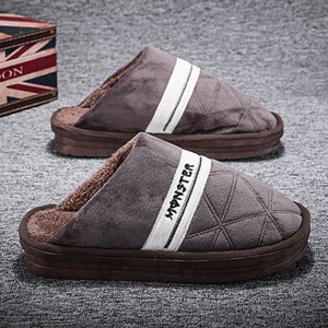 Home cotton men winter thick-soled warm anti-skid home indoor household wool slippers 03020101404