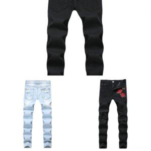 SZ2CT Скидка Men Brand Италия Мужские Джинсы Карандаш Мужская Краска Джинсы Товары Тонкие джинсы Джинсовые брюки Брюки Blue Hole Брюки для