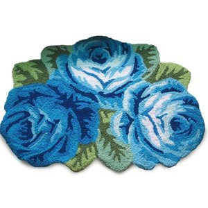 WINLIFE Romantic 3 Roses Rugs Antiskid Door Mat Flower Shaped Area Rugs Bedroom Floor Mat Pink Rose Living Room