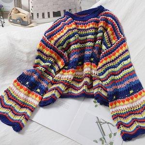 2021 New Female Runway Christmas Sweet Multi-color Stripe Sweater Thin Neck Style Crochet Tops J0mi
