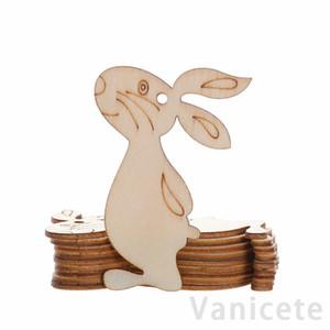 10pcs lot Wooden Easter Pendant Eggs Rabbit Bunny Hanging Ornament DIY Easter Bunny Craft Home Decoration 60set T1I3502