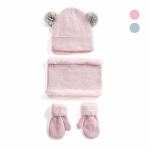3PC / 설정 Knitteed 모자 어린이 소녀 소년 겨울 듀얼 응원 비니 모자 봉제 목 랩 스카프 따뜻한 두꺼운 장갑 세트 가을는 winte