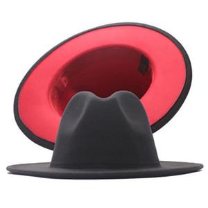 Klasik İki Tonlu Yün Fedoras Şapka Erkekler Kadınlar için Keçe Caz Cap Geniş Brim Kilisesi Derby FedEx tarafından Derby Düz Şapka