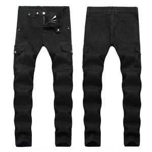 pantalones vaqueros de los hombres de moda Multi-bolsillo del otoño y del invierno jeansLocomotive jeansand nuevos pantalones vaqueros de los hombres de moda de la locomotora negro 4v múltiples bolsillos