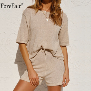 Forefair O Neck Tracksuit Women Summer 2020 Shorts Knit Sleeve T Shirt Loose And Casual Shorts Pants Two Piece Set Outfits X0923