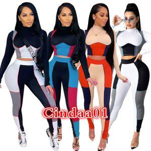 Kadın Eşofman İki Parçalı Set Tasarımcısı 2021 Bahar Rahat Anahtarlama Renk Uzun Kollu Tayt İnce Üst Lady Yeni Moda Sportwear
