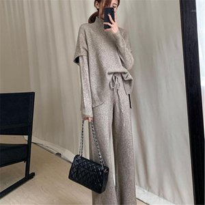 CBAFU Frauen Gestrickte Pullover + Weste + Hosen 3 Stück Sets Büro Lady Knit Anzug Rollkragenpullover Frühling Herbst Strickset Set P7641