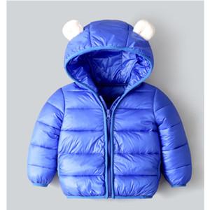 Winter Down jacket for girls Boys Kids Childrens clothing Solid Ears Hooded fall Baby warm Coat Zipper vetements 2020 LJ201203