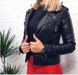 2020 New Fashion Women Soft Faux Leather PU Jackets and Coats Lady Motorcyle Zippers Biker Black Spliced Street Outerwear
