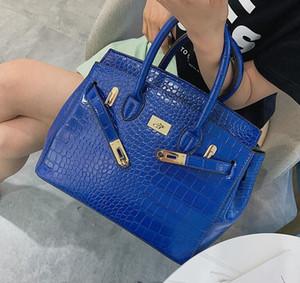 Cuero de la etiqueta del equipaje Big Bag 2020 Nuevo bolso Birkin de Europa y América la impresión del cocodrilo del bolso All-Matching hombro para mujer Bolsa 00153