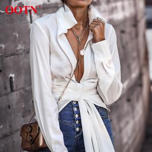 OOTN Sexy blanc Wrap Top Shirt femmes manches longues Chemisier lacent Bureau Knot Femme Chemisier Automne Hiver Femme Tunique 200930