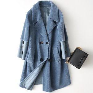 Mlcriyg Sheep Shearing Real Wool Coat Abrigo Mujer 2019 Moda coreana Chaqueta de invierno Mujeres Abrigos de piel largos medianos YQ316