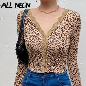 breasted-Single ALLNeon E-chica salvaje profundo escote en V con borde de encaje camisetas Y2K moda leopardo de impresión de manga larga cosechado flaco Tops