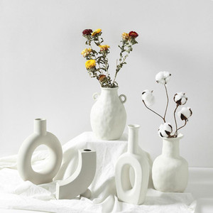 Ceramic Table Flower Vases Nordic Home Decoration Accessories Modern White Plant Art Decor Crafts Wedding Vase for Centerpieces