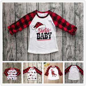 어린이 크리스마스 옷 어린이 T 셔츠 풀오버 탑스 아기 소년 소녀 격자 무늬 긴 소매 티셔츠 크리스마스 레드 그리드 공룡 프린트 Tshirt E102906