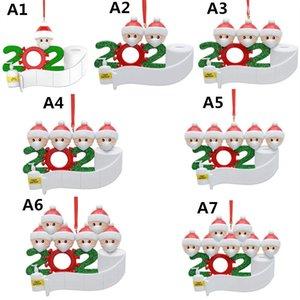 DIY Рождественского орнамент Приветствие Карантин подарки Survivor 1-7 семья с маской для лица Туалетной бумаги ПВХ украшение елки Подвески 2020