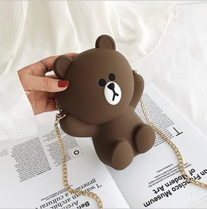 Designer- Cartoon Bear Silica Gel Shoulder Bags Zipper Soft Clutch Purses And Handbags Handbags Women Bags Chain Crossbody