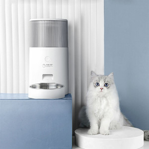 Pet Cat Water Fountain Smart Automatic Feeder 2.5L For Dog Food Bowls Remote Intelligent Cats Feeding Supplies 2in1 Feeding USB 201109
