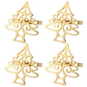 4Pcs Christmas Tree Alloy Beautiful Delicate Napkin Ring Napkin Buckle Table Decoration Western Restaurant Dinner Holder