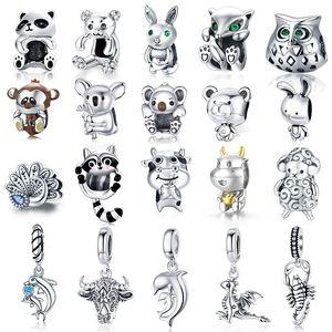WOSTU Hayvan Charm 925 Ayar Gümüş Koala Tilki Ayı Boncuk Tavşan Inek Panda Kolye Fit Orijinal Bilezik DIY Takı Kadınlar Için