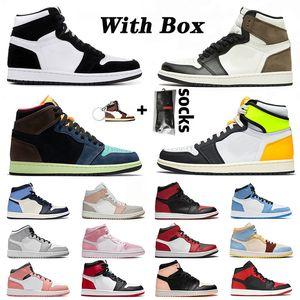 Con Zapatos Caja baloncesto retro 1 off white 1s jumpman mid high para mujer para hombre de mediana Milán Chicago dedo de Miedo rosa zapatillas de deporte