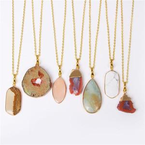 Collane pendenti Druzy Agate Collana per le donne Uomo Uomini Crystal Quartz Slice Charms Collar Brincos Catena Pendente in pietra naturale