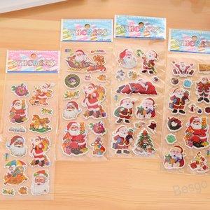 Christmas Cartoon Sticker 3D Christmas Tree Snowman Bell Stickers Santa Claus Wall Stickers Home Decoration Kindergarten Reward BH4299 WXM