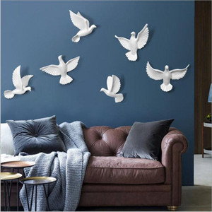 6PCS European Wall Hanging Resin Birds Decoration Crafts 3D Stereo Pigeon Home Livingroom Sofa TV background Mural Ornaments Art