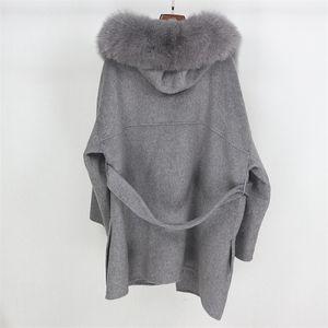 OFTBUY Real Fur Coat Winter Jacket Women Loose Natural Fox Fur Collar Cashmere Wool Blends Outerwear Streetwear Oversize 201209