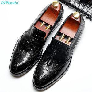 QYFCIOUFU Vitello nero autentico scarpe in pelle nappa brogue Scarpe Uomo fatto a mano abito da sposa ufficio uomini formali