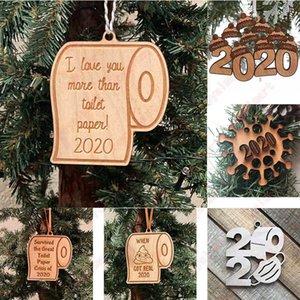 Hölzerne Ornamente Pandemic Social Distanzierung Weihnachtsbaum Hanging Weihnachts Anhänger Weihnachtsmann-Toilettenpapier-Partei-Dekoration DDA655