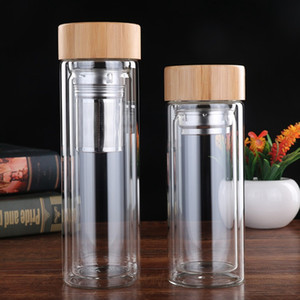 Vaso de cristal del té infuser cesta de vidrio transparente Botellas de agua portátil de la tapa de bambú tazas de agua de pared doble VT1805